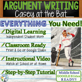Casey at the Bat by Ernest Thayer - Text Dependent Analysis Argument Writing