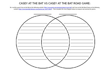 Casey at the Bat vs Casey at the Bat Road Game Venn Diagram Comparison