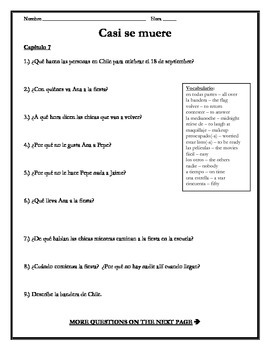 Casi se muere - Chapter 7 Comprehension Questions w/vocabulary