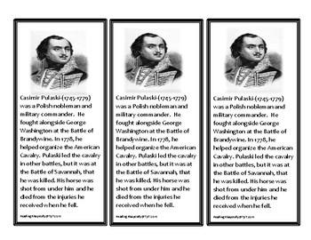 Casimir Pulaski informational bookmarks