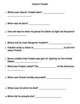 Casimir Pulaski questions