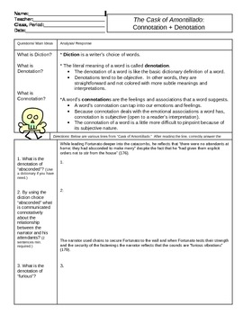 Cask of Amontillado Connotation + Denotation Worksheet by Guzman