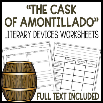 Cask of Amontillado Literary Devices Worksheets- Setting, Mood, Irony, & More!