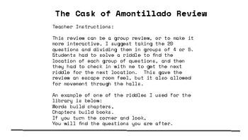 Cask of Amontillado Question Trail Review