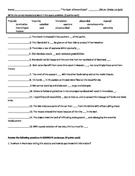 Cask of Amontillado Quiz and Mardi Gras Research Packet