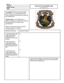 Cask of Amontillado Symbolism Worksheet