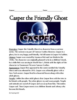 Casper Friendly Ghost - Lesson history facts information review questions