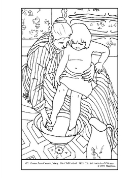 Cassatt, Mary.  The Child's Bath.  Coloring page and lesson plan ideas