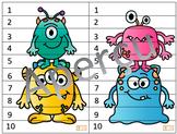 Casse-tête de nombres 1 à 10 - Monstres
