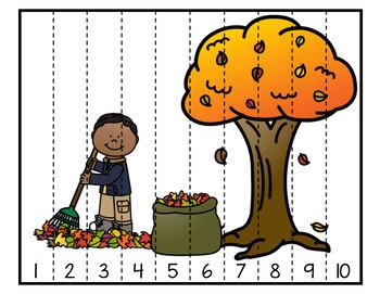 Casse-tête numériques 1à 10 (automne et Halloween)  Fall and Halloween Puzzles