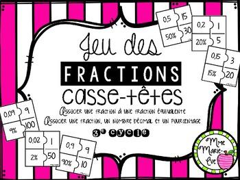 Casse-têtes - Fractions, décimales, pourcentages (Fractions puzzles)