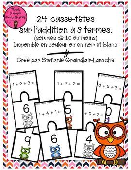 Casse-têtes addition 3 termes // Math puzzles