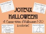 Casse-têtes d'Halloween 1-20 à colorier!