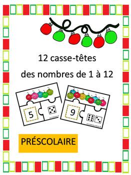 Casse-têtes des nombres 1 à 12 - noel