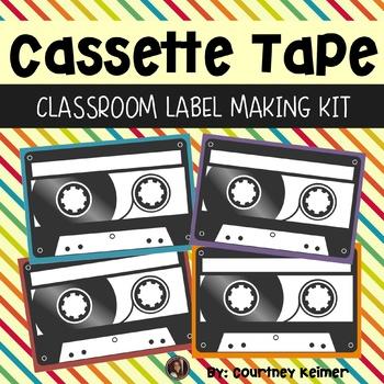 Cassette Tape Labels Editable Kit Classroom Decor {PowerPoint & Font Included}