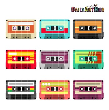Cassette Tapes Clip Art - Great for Art Class Projects!