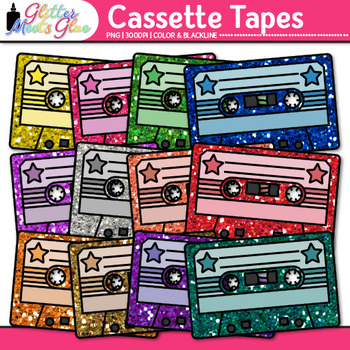 Cassette Tapes Clip Art {80's Retro Music Graphics for Worksheets & Resources}