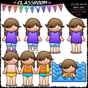 Cassie Gets Dressed For Swimming Clip Art - Sequence Clip Art & B&W Set