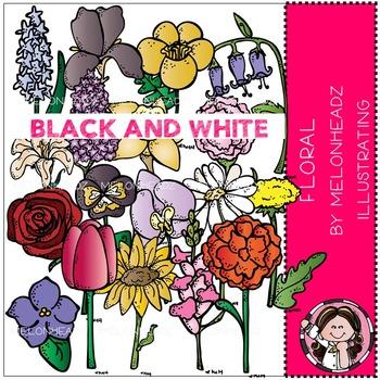 Melonheadz: Floral clip art - BLACK AND WHITE