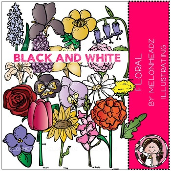 Floral clip art - BLACK AND WHITE- by Melonheadz