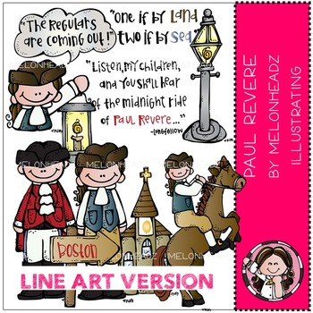 Melonheadz: Paul Revere clip art - LINE ART