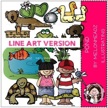 Melonheadz: Pond clip art - LINE ART