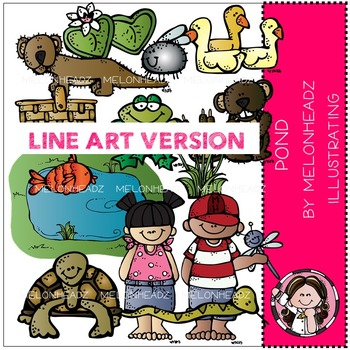 Pond clip art - LINE ART- by Melonheadz