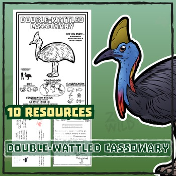 Cassowary -- 10 Resources -- Coloring Pages, Reading & Activities