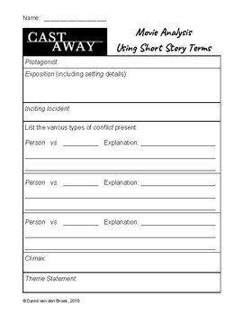 Cast Away - Engaging Movie Supplement - Short Story Worksheets & Viewing Quiz