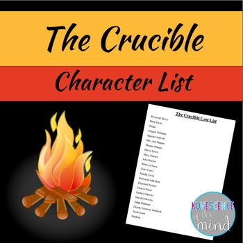 Cast List of Characters for The Crucible Freebie