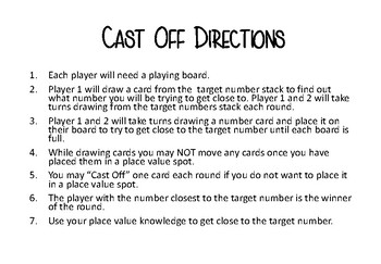 Cast Off Place Value Game