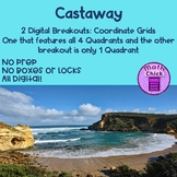 Castaway Digital Breakout : Coordinate Grids 1 Quadrant and 4 Quadrants