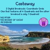 Castaway Digital Escape Breakout : Coordinate Grids 1 Quadrant and 4 Quadrants