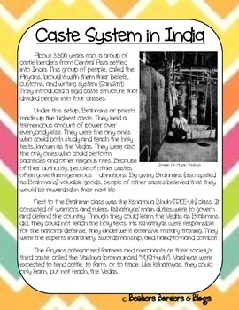 Caste System in Ancient India Socratic Seminar Lesson Plan