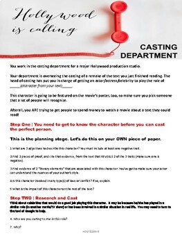Casting Call Character Poster Activity for ANY TEXT