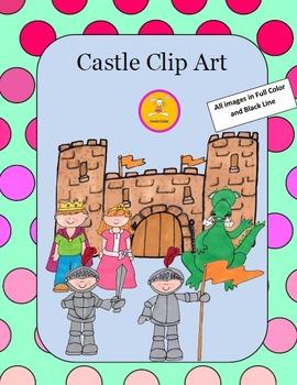Castle Clip Art -in Full Color and Black Line