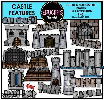 Castle Features Clip Art Bundle {Educlips Clipart}