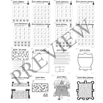 Castle and Middle Ages Activity Packet and Worksheets