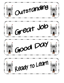 Castle Themed Behavior Clip Chart Packet