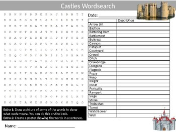 Castles Wordsearch Sheet Starter Activity Keywords Medieval History