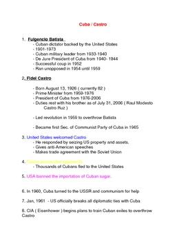 Castro & Cuba Outline Notes Handout American History III