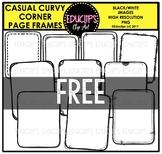 Casual Curvy Corner Page Frames Clip Art Bundle {Educlips