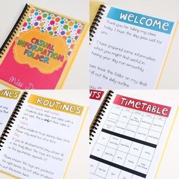 Casual Relief/Substitute Teacher Information Folder EDITABLE