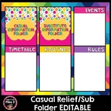 Casual Relief/Substitute Teacher Information Folder Editable BTSdownunder