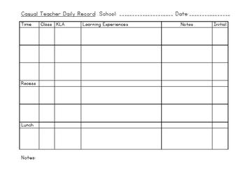 Casual Teacher Daily Record proforma