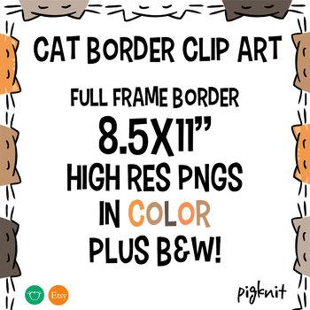 Cat Border Frame Clipart | Kitty Clip Art Background
