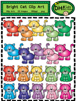 Cat Clip Art - Bright Cats - Personal and Commercial Use