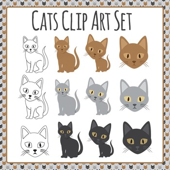Cat Clip Art Set for Commercial Use