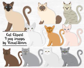 Cat Clip Art, 10 Hand Drawn Cat Illustrations, Popular Cat Breeds