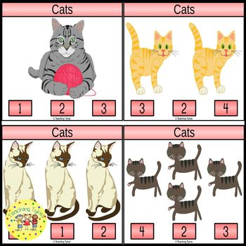 Cats Count and Clip Task Cards